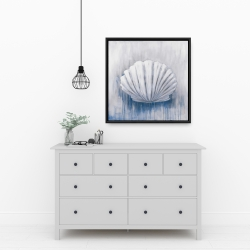 Framed 24 x 24 - Blue feston shell