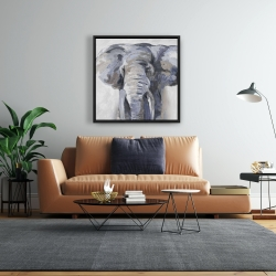 Framed 24 x 24 - Pastel blue elephant