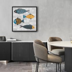 Framed 24 x 24 - Illustration of nautical fish