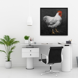 Framed 24 x 24 - Grey rooster 2