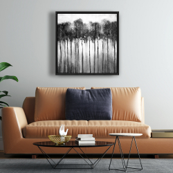 Framed 24 x 24 - Abstract forest black and white