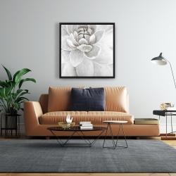 Framed 24 x 24 - Delicate white chrysanthemum