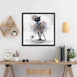 Framed 24 x 24 - Cartoon black cat