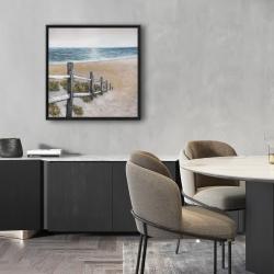 Framed 24 x 24 - Soft seaside