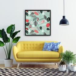 Framed 24 x 24 - Turquoise leaf patterns