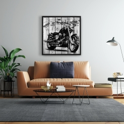 Framed 24 x 24 - Motorcycle grey and black