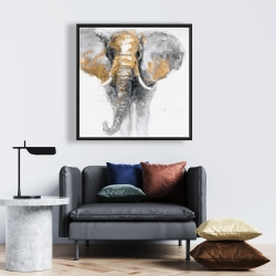 Framed 24 x 24 - Golden elephant