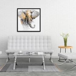 Framed 24 x 24 - Beautiful golden elephant