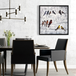 Framed 24 x 24 - Colorful birds on branches