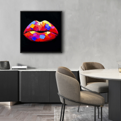 Framed 24 x 24 - Colorful lipstick