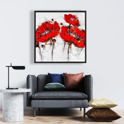 Framed 24 x 24 - Abstract poppy flowers