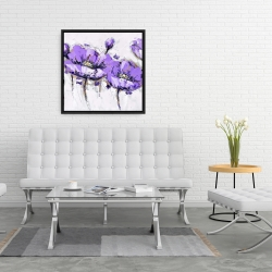 Framed 24 x 24 - Abstract purple flowers