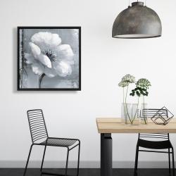 Framed 24 x 24 - Gray & white flowers