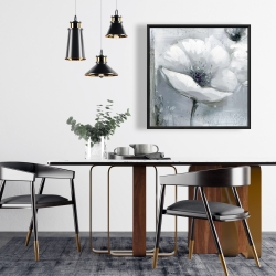 Framed 24 x 24 - Grayscale flowers