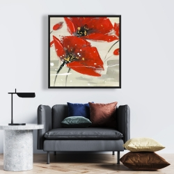 Framed 24 x 24 - Abstract red flowers in the wind