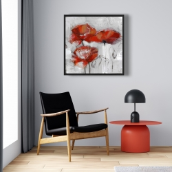 Framed 24 x 24 - Abstract poppies