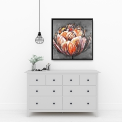 Framed 24 x 24 - Double and abstract orange tulip