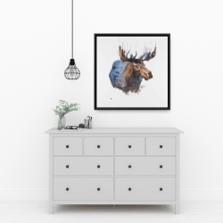 Framed 24 x 24 - Abstract blue moose
