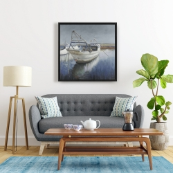 Framed 24 x 24 - Blue fishing boat