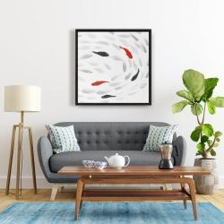 Framed 24 x 24 - Swimming fish swirl