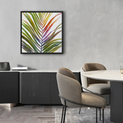 Framed 24 x 24 - Watercolor tropical palm leave