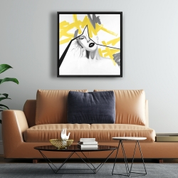 Framed 24 x 24 - Woman with yellow line