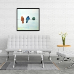 Framed 24 x 24 - Perched abstract birds