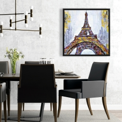 Framed 24 x 24 - Abstract paint splash eiffel tower
