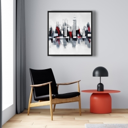 Framed 24 x 24 - Gray and red cityscape