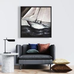 Framed 24 x 24 - Boat in a violent storm