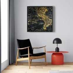 Framed 24 x 24 - Blue and marine world map globe