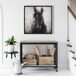Framed 24 x 24 - Black horse