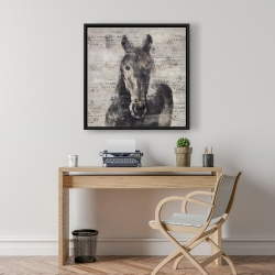 Framed 24 x 24 - Abstract horse with typography
