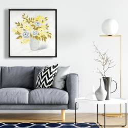 Framed 24 x 24 - Blue and yellow flowers in a vase