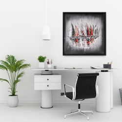 Framed 24 x 24 - Sailboats with paint splash