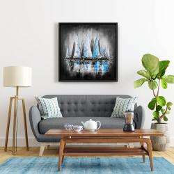 Framed 24 x 24 - Blue sailboats
