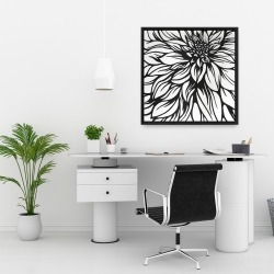 Framed 24 x 24 - Dahlia flower outline style
