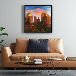 Framed 24 x 24 - Cathedral rock in arizona