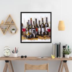 Framed 24 x 24 - Red wine bottles