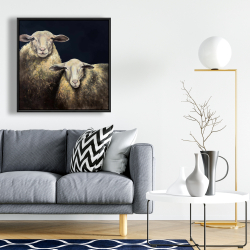 Framed 24 x 24 - Two sheep blue background
