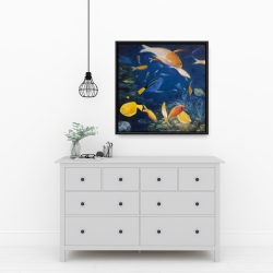 Framed 24 x 24 - Colorful fish under the sea