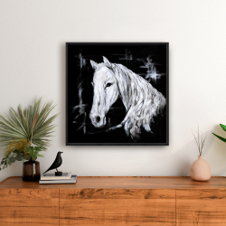 Framed 24 x 24 - Abstract horse profile view