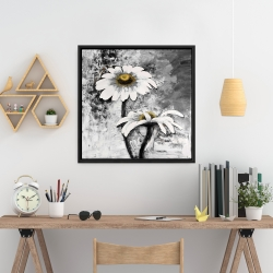 Framed 24 x 24 - Abstract daisies flowers