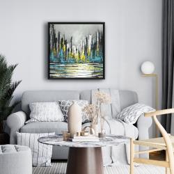 Framed 24 x 24 - Abstract blue skyline