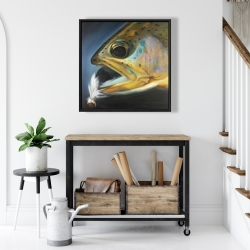 Framed 24 x 24 - Golden trout with fly fishing flie