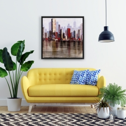 Framed 24 x 24 - Industrial city style
