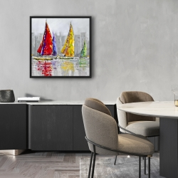 Framed 24 x 24 - Sailboats in the wind