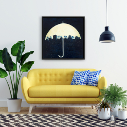 Framed 24 x 24 - A city under a umbrellas