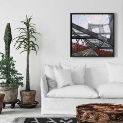 Framed 24 x 24 - Brooklyn bridge architecture