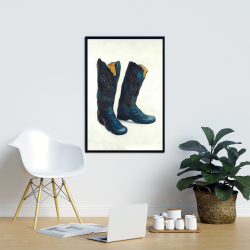 Framed 24 x 36 - Leather cowboy boots